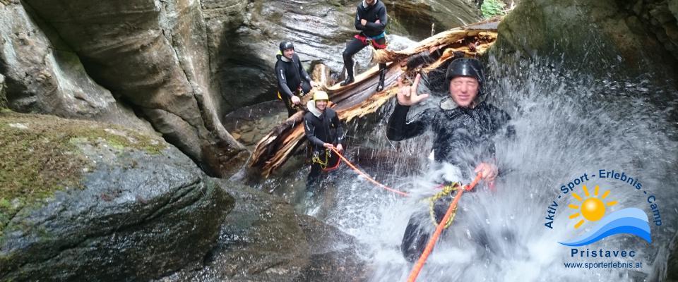 Canyoning in der Wunzenschlucht optimales Teambuilding